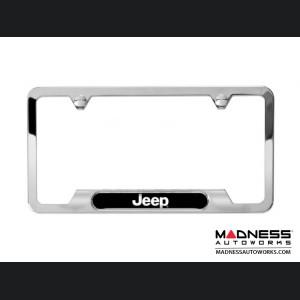 Jeep Compass License Plate Frame - Polished w/ Jeep Logo