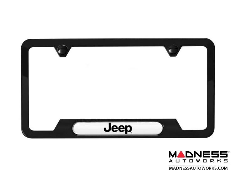 Jeep Compass License Plate Frame - Satin Black w/ Jeep Logo