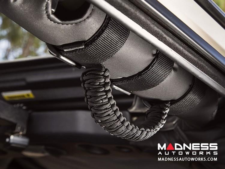 Jeep Wrangler JL Para cord Grab Handles - Black on Black - Pair