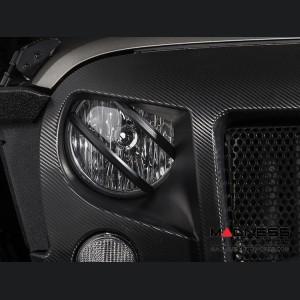 Jeep Wrangler JK Pivotal Headlight Euro Guards - Black