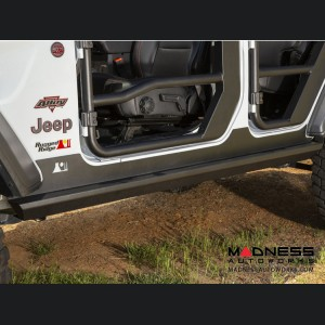 Jeep Wrangler JL XHD Rock Sliders - Black Steel - 4 Door