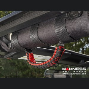 Jeep Gladiator Para Cord Grab Handles - Red on Black - Pair