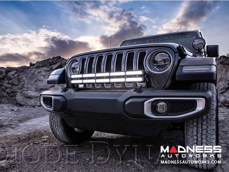 "Jeep Wrangler JL Bumper LED Kit White Combo - Single 30"" Light Bar"