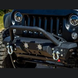 Jeep Wrangler JK Front Bumper w/ LED Lights - Mid Width - Steel - FS-11