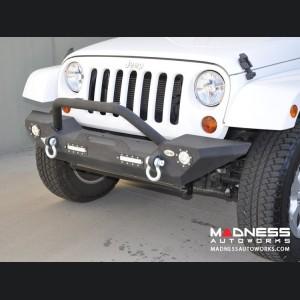 Jeep Wrangler JK Front Bumper w/ LED Lights - Mid Width - Steel - FS-7