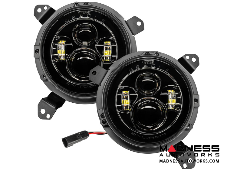 Jeep Wrangler JL High Powered LED Lights w/ No Halo - Pair - 7""