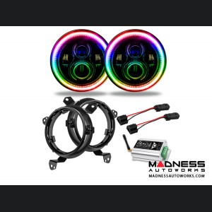 """Jeep Wrangler JL High Powered LED Lights - ColorShift w/Wifi - Pair - 7"""""""