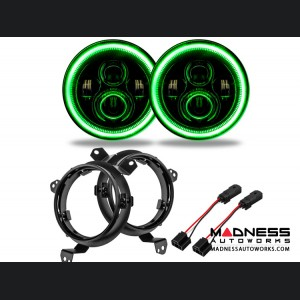 Jeep Wrangler JL High Powered LED Lights - Green - Pair - 7""