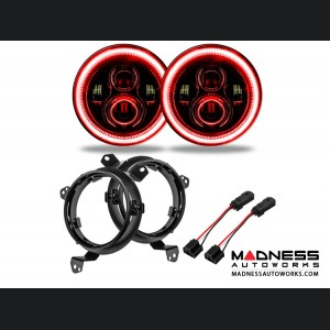 """Jeep Wrangler JL High Powered LED Lights - Red - Pair - 7"""""""