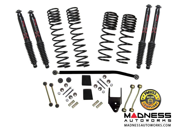 Jeep Wrangler JL Rubicon Travel Lift Kit System w/ Black MAX Shocks - 2-Door 4WD 3.5-4""