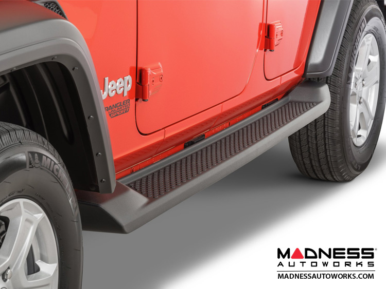 Jeep Wrangler JL Side Steps - Molded Black Plastic - 4 Door