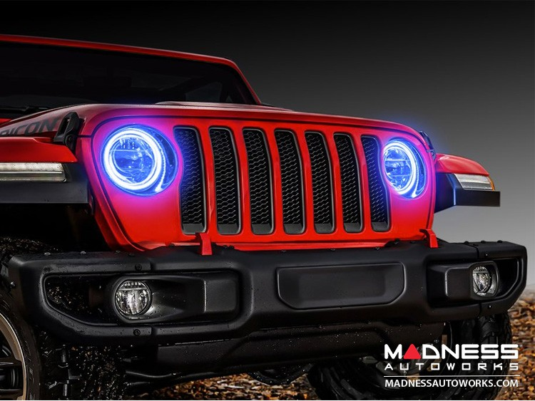 Jeep Wrangler JL LED Surface Mount Headlight Halo Kit - Blue