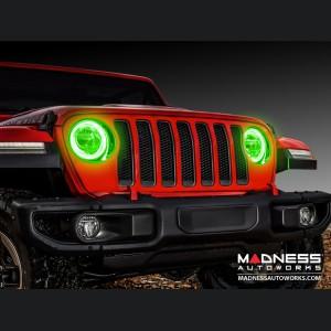 Jeep Wrangler JK LED Surface Mount Headlight Halo Kit - Green