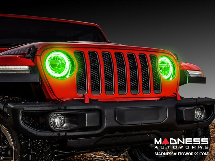 Jeep Wrangler JL LED Surface Mount Headlight Halo Kit - Green