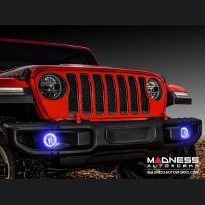 Jeep Wrangler JL LED Surface Mount Fog Light Halo Kit - Blue