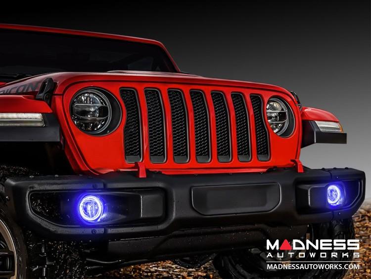 Jeep Wrangler JK LED Surface Mount Fog Light Halo Kit - Blue