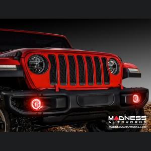 Jeep Wrangler JK LED Surface Mount Fog Light Halo Kit - Red