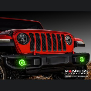 Jeep Wrangler JL LED Surface Mount Fog Light Halo Kit - Green