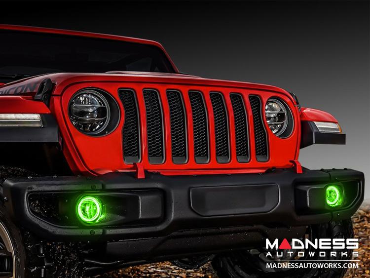 Jeep Wrangler JL LED Surface Mount Fog Light Halo Kit - Green