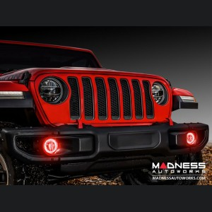 Jeep Wrangler JL LED Surface Mount Fog Light Halo Kit - Red