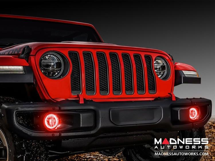 Jeep Wrangler JL LED Surface Mount Fog Light Halo Kit - Red