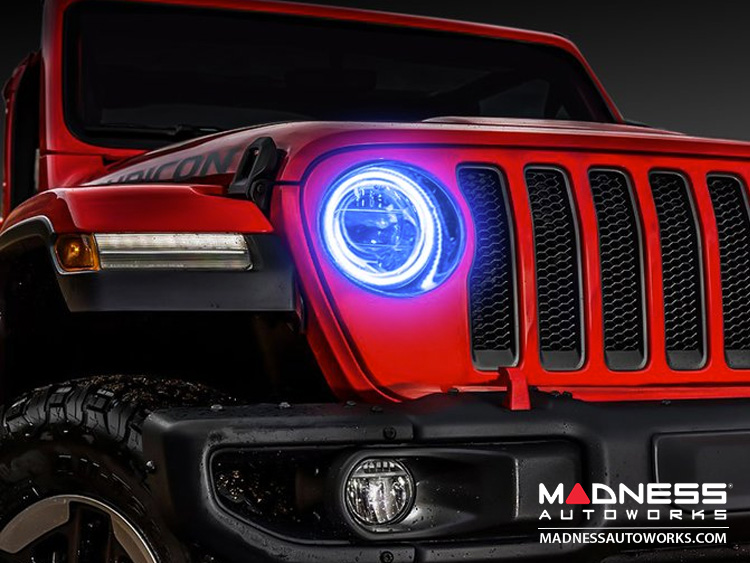 Jeep Halo Headlights >> Jeep Wrangler Jk Led Surface Mount Headlight Halo Kit Blue