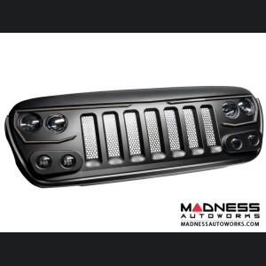 Jeep Wrangler JL Vector Series - Full LED Grille - Billet Silver Metallic