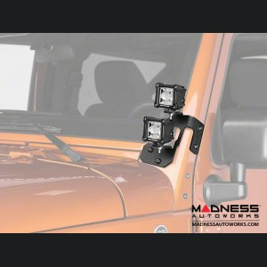 Jeep Wrangler JK Square Dual Beam LED Lights w/A-Pillar Mounting Brackets - 3""