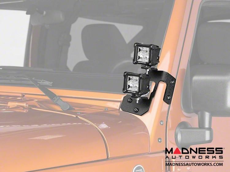 "Jeep Wrangler JK Square Dual Beam LED Lights w/A-Pillar Mounting Brackets - 3"""