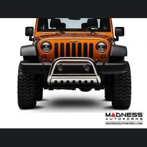 """Jeep Wrangler JK Bull Bar - 3"""" Black with Stainless Steel"""