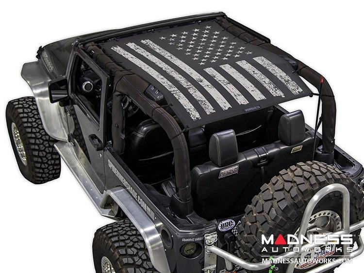 Jeep Wrangler JK SW1 Top Trailmesh - Tactical Flag Distressed - 2 Door