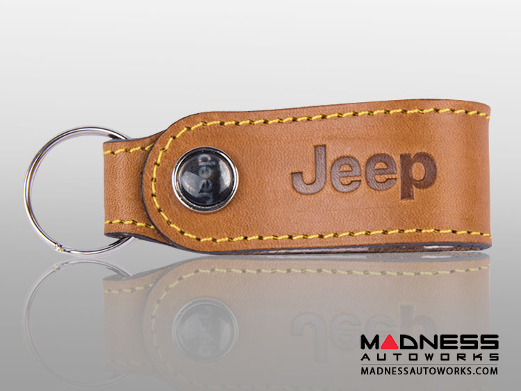 Jeep Keychain - Leather Band - Brown