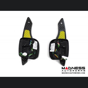 Alfa Romeo 4C Carbon Fiber Paddle Shifters - Yellow Accent