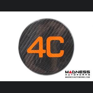 Alfa Romeo 4C Carbon Fiber Fuel Door - 4C Logo in Orange