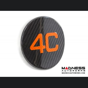 Alfa Romeo 4C Carbon Fiber Fuel Door - 4C Logo in Orange