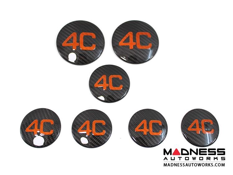 Alfa Romeo 4C Carbon Fiber Badge Cover Kit - 4C Logo in Orange