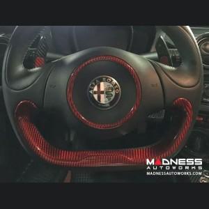 Alfa Romeo 4C Carbon Fiber Lower Steering Wheel Trim - Red Candy
