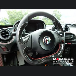 Alfa Romeo 4C Carbon Fiber Steering Wheel Side Covers Trim - Blue