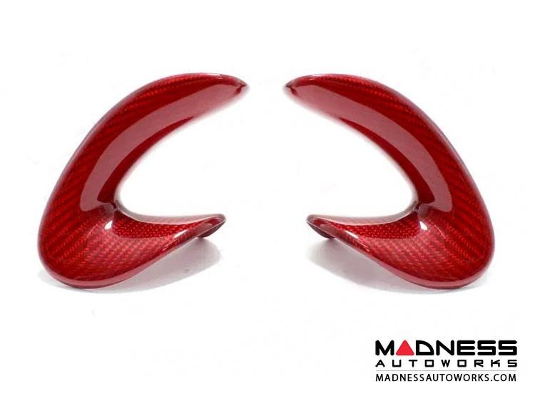 Alfa Romeo 4C Carbon FIber Steering Wheel Side Covers Trim - Red