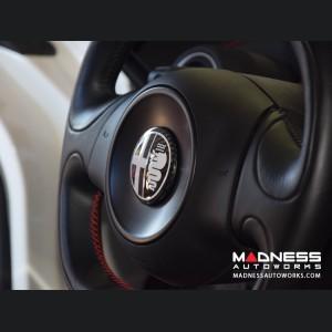 Alfa Romeo 4C Carbon Fiber Badge Cover Kit - Alfa Romeo Logo in White