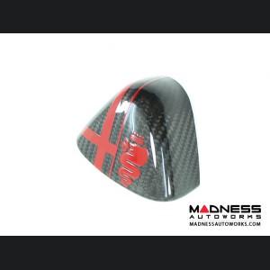 Alfa Romeo 4C Carbon Fiber Upper Safety Belt Ring Cover - w/ Red Alfa Logo