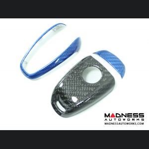 Alfa Romeo Giulia Key Fob Cover  - Carbon Fiber - Black Main/ Blue Accents