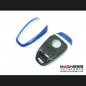 Alfa Romeo Giulia Key Fob Cover  - Carbon Fiber - Black Main/ Blue Accents