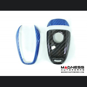 Alfa Romeo Stelvio Key Fob Cover  - Carbon Fiber - Black Main/ Blue Accents