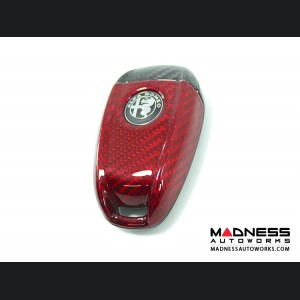 Alfa Romeo Giulia Key Fob Cover  - Carbon Fiber - Black/ Red