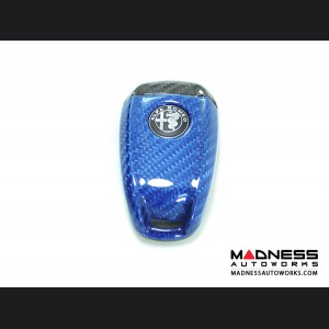 Alfa Romeo Stelvio Key Fob Cover  - Carbon Fiber - Blue Main/ Black Accents
