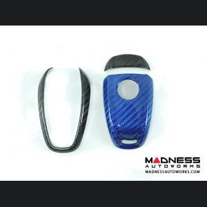 Alfa Romeo Stelvio Key Fob Cover  - Carbon Fiber - Blue Main/ Black Accents