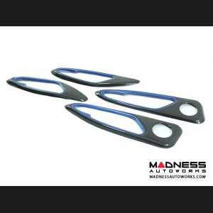Alfa Romeo Giulia Internal Door Handle Frame Trim Set - Carbon Fiber - Blue