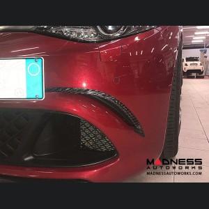 Alfa Romeo Giulia Front Bumper Trim - Carbon Fiber - Blue - Quadrifoglio