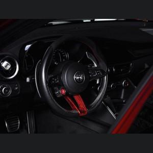 Alfa Romeo Stelvio Steering Wheel Trim - QV Model - 2 piece lower trim - Carbon Fiber - Red